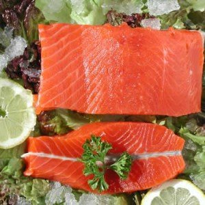 Two fillets of wild sockeye salmon from Alaska.