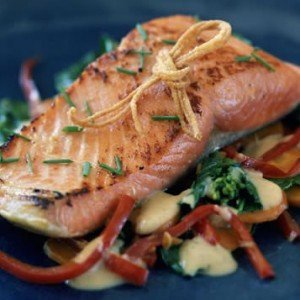 A cooked fillet of wild Keta Salmon from Alaska.