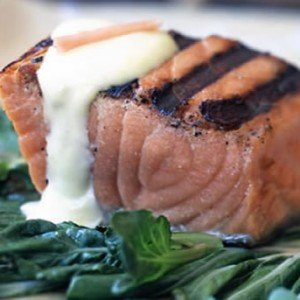 A cooked fillet of wild King Salmon caught fresh in Alaska.